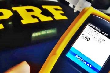 bafometro prf - Homem é preso pela PRF na Paraíba dirigindo embriagado