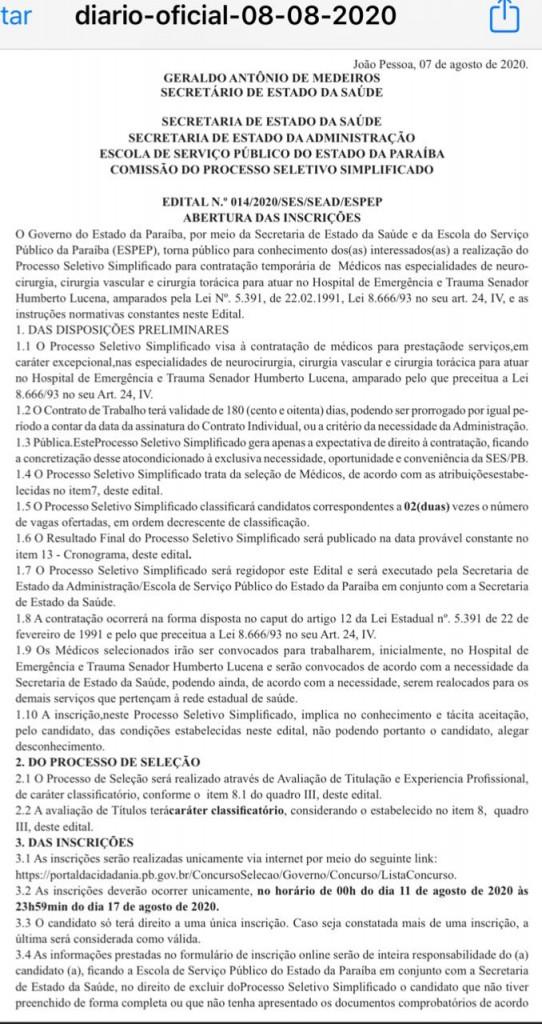 ca78157b c352 4574 9d22 70e143a561e4 - PB lança edital para médicos das áreas de neurocirurgia, cirurgia vascular e cirurgia torácica