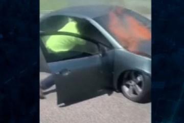 d1455055e9e7e8bf6ab42a5ffa0c33d6 - Homem salva motorista de carro em chamas; jovem estava inconsciente