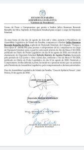 licença raniery 169x300 - Raniery Paulino pede licença e Jullys Roberto retorna à Assembleia Legislativa