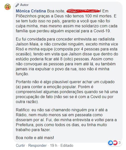 resposta - Prefeita de Pilõezinhos causa aglomeração nas ruas da cidade e responde criticas: 'não temos 100 mil mortes' - VEJA VÍDEOS