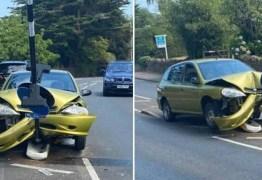 Motorista bate em poste ao tentar se livrar de aranha