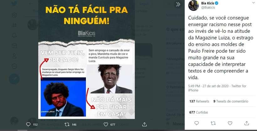 20200927185625370557o - Deputada bolsonarista Bia Kicis faz post racista com Moro e Mandetta para 'criticar' Magazine Luiza