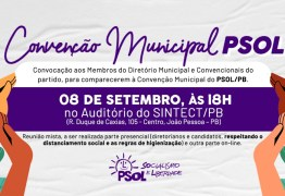 PSOL anuncia candidatos a prefeito e vereadores de JP em convenção de transmissão online nesta terça