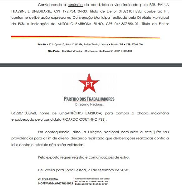 GLEISI 2 - ALIANÇA: PT oficializa candidatura de Antônio Barbosa como vice de Ricardo Coutinho em JP; LEIA DOCUMENTO