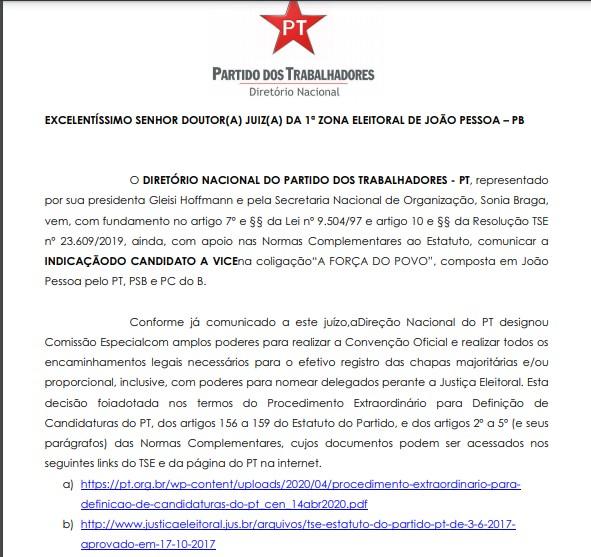 PT VICE RICARDO - ALIANÇA: PT oficializa candidatura de Antônio Barbosa como vice de Ricardo Coutinho em JP; LEIA DOCUMENTO