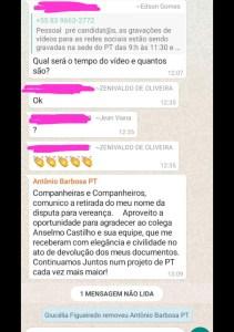 """WhatsApp Image 2020 09 22 at 13.17.22 211x300 - Antônio Barbosa retira o nome para ser vereador: """"Continuamos Juntos num projeto de PT cada vez mais maior"""""""