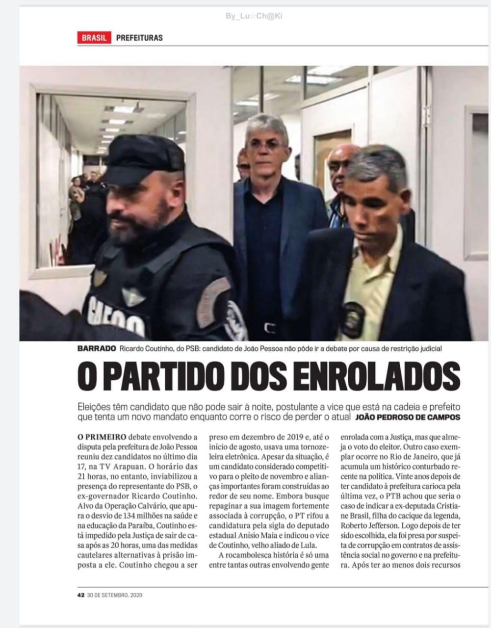 WhatsApp Image 2020 09 25 at 17.22.38 - MEDIDAS CAUTELARES: revista destaca restrições impostas a Ricardo Coutinho durante eleições