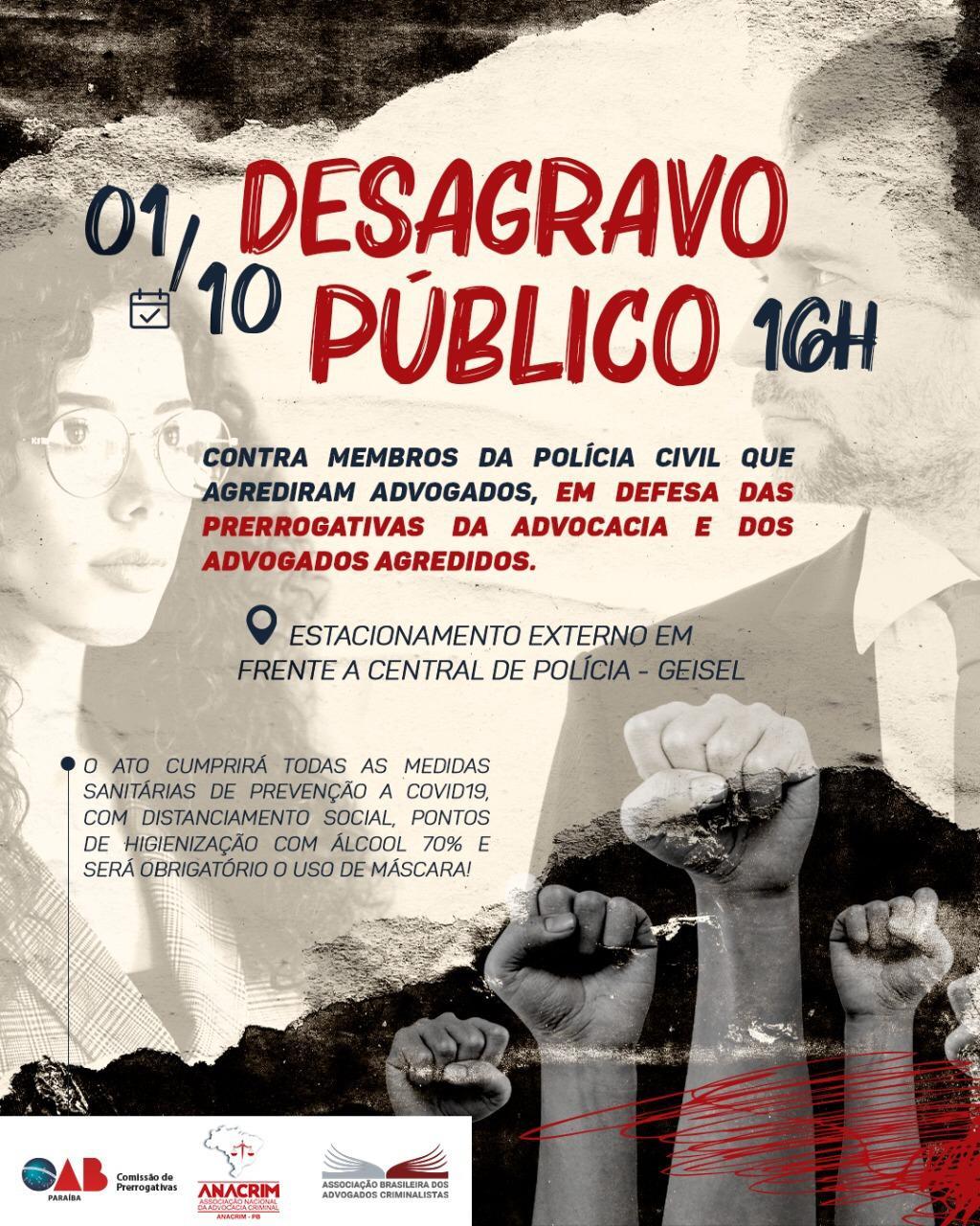 WhatsApp Image 2020 09 29 at 19.06.25 - Em defesa da advocacia: OAB-PB realiza desagravo público contra membros da Polícia Civil, em João Pessoa