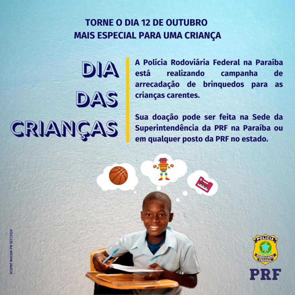 WhatsApp Image 2020 09 30 at 14.51.26 - PRF na Paraíba realiza campanha de arrecadação de brinquedos para crianças carentes
