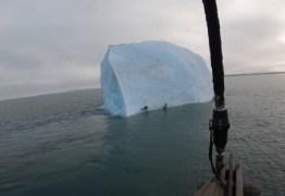 Iceberg vira repentinamente e quase esmaga exploradores no Polo Norte