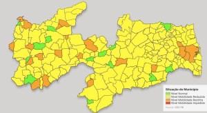 novo normal pb mapa 300x164 - PLANO NOVO NORMAL: 187 municípios estão em bandeira amarela na Paraíba