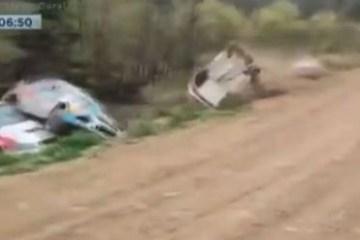 2dd323e40cd44bd0c1a0cbb832236773 - CURVA DA MORTE: Quatro carros de corrida sofrem acidente no mesmo ponto do rally