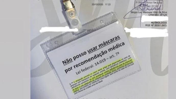 """Capturar.JPGk  1 - """"A LUTA DIÁRIA"""": Médico dá atestado para deputado entrar sem máscara em aeroporto"""