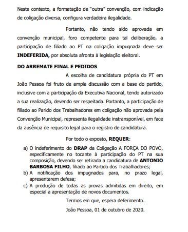 PT CONTRA PT IMPUGNAÇÃO - Anísio alega que intervenção nacional 'fere de morte a democracia' e pede impugnação da candidatura de Antônio Barbosa na chapa de Ricardo; VEJA DOCUMENTO