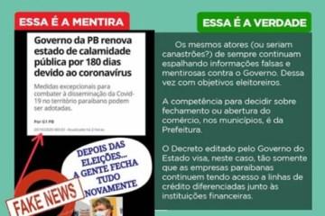 FAKE NEWS: Governo da Paraíba nega fechamento do comércio após as eleições 2020