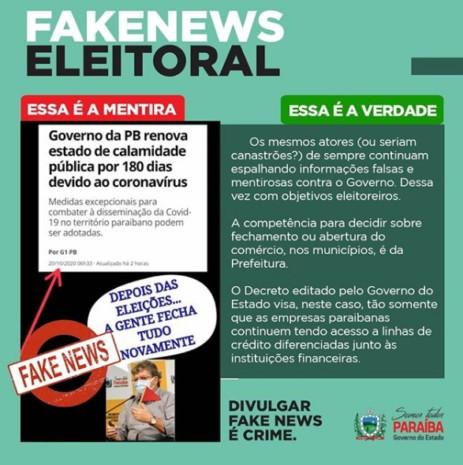 Sem titulo 9 463x465 1 - FAKE NEWS: Governo da Paraíba nega fechamento do comércio após as eleições 2020