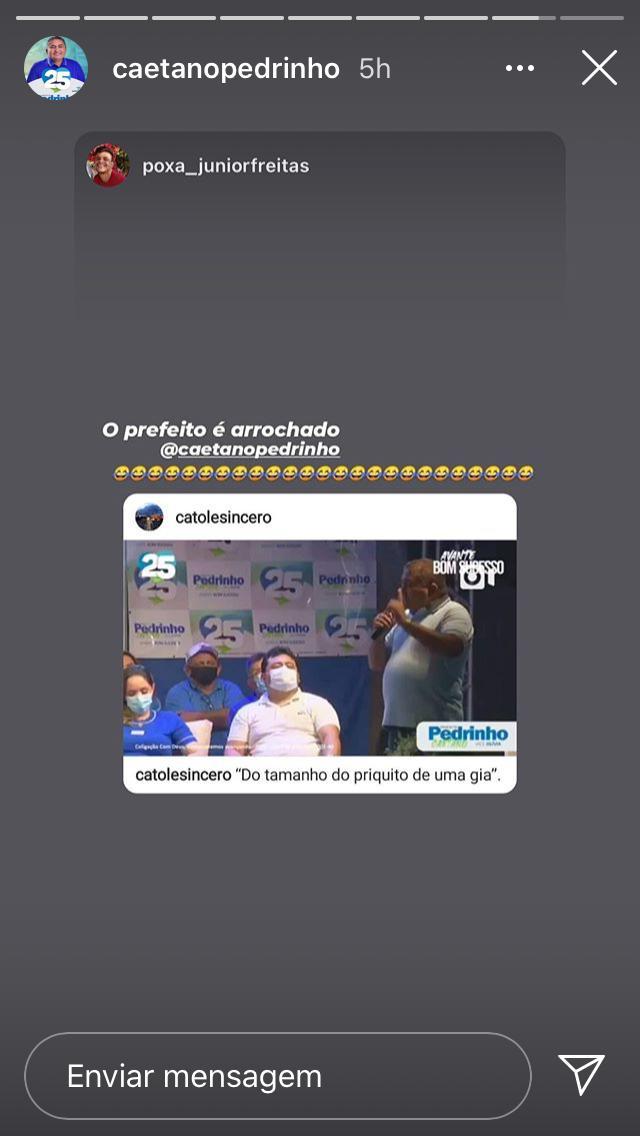 """WhatsApp Image 2020 10 11 at 18.45.41 - Em live, candidato a prefeito no sertão diz que tem 'poder para fazer o que quer' e compara oposição ao """"priquito"""" de uma gia"""