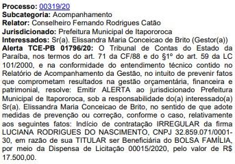 alerta empresa irregular - TCE-PB alerta prefeitura por contratação irregular de empresa