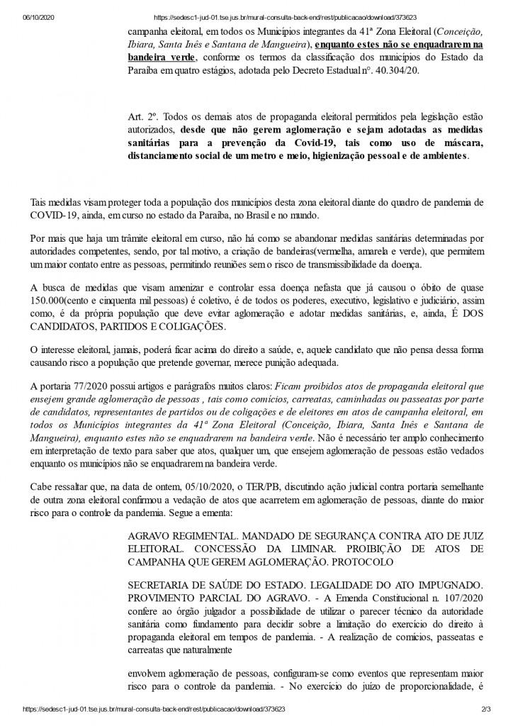 conceicao page 0002 - AGLOMERAÇÃO: Jourdana Diniz, candidata à prefeita de Conceição é condenada pela Justiça Eleitoral a pagar R$ 100 mil