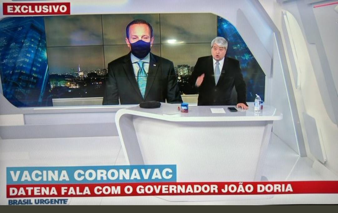 datena doria - Datena utiliza entrevista com Doria para fazer campanha política contra a CoronaVac