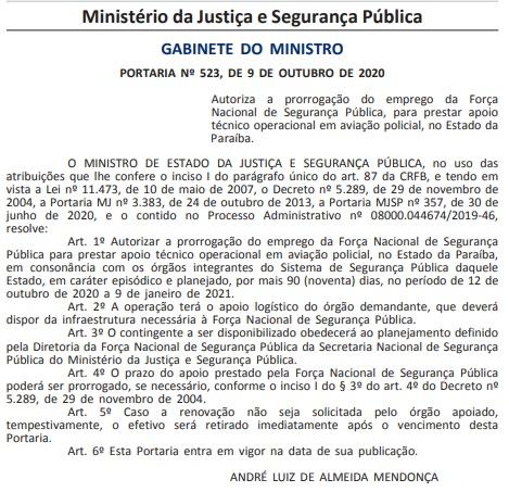 despacho força nacional - Ministro da Justiça e Segurança Pública prorroga Força Nacional da Paraíba