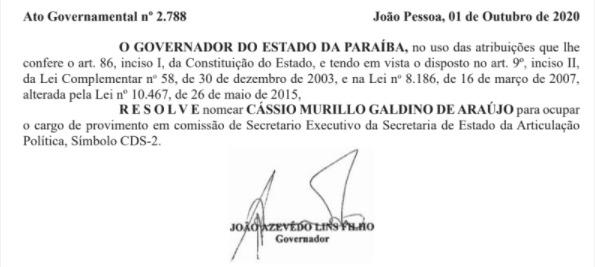 whatsapp image 2020 10 02 at 065226 - 'ARTICULAÇÃO POLÍTICA': João Azevêdo escolhe Murilo Galdino como novo secretário do Estado