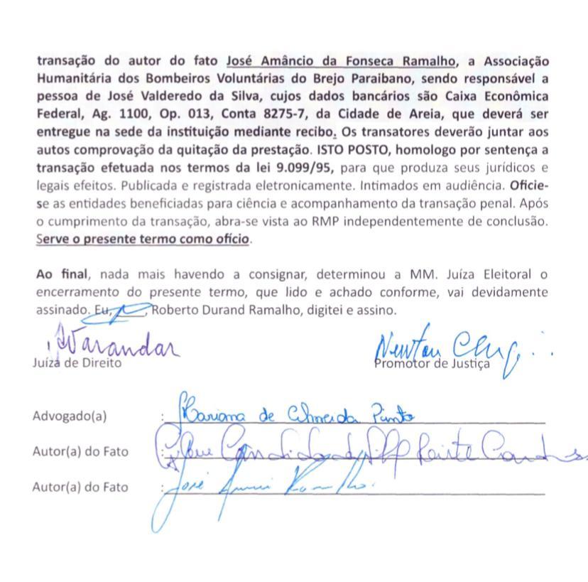 2 - 'Infração de medida sanitária e crime de desobediência': candidata a prefeita de Borborema e vice são condenados a pagar multa de mais de R$ 10 mil
