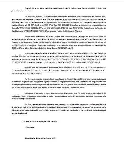 4 - ALHANDRA: Branco Mendes consegue liminar e tem candidatura garantida - CONFIRA DOCUMENTO
