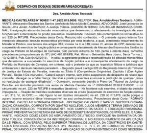 DESEMBARGADOR 300x280 - RENT A CAR: prefeito reeleito de Camalaú tem afastamento mantido pelo TJPB; VEJA DESPACHO