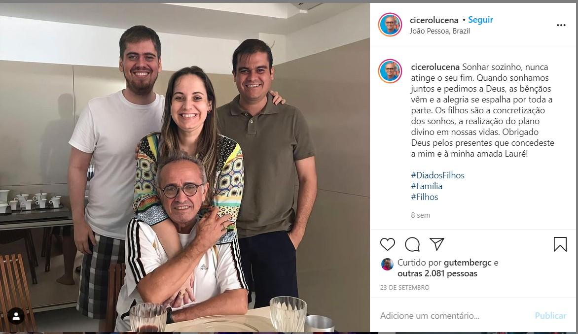 imagem 2020 11 20 222714 - O LADO FAMÍLIA: conheça um pouco mais da vida dos candidatos à PMJP, Cicero Lucena e Nilvan Ferreira