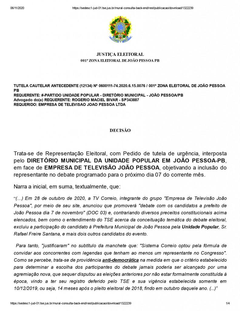 joao pessoa 1 1 - Juíza nega pedido de participação de candidato em debate promovido por emissora de televisão em João Pessoa