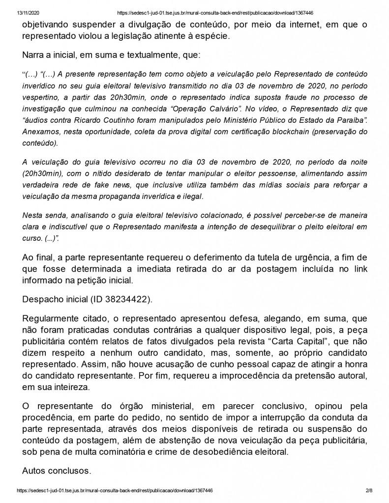 joao pessoa 2 1 - Justiça eleitoral determina que Ricardo Coutinho exclua propaganda com acusações de que Gaeco teria manipulado áudios de delações da Operação Calvário