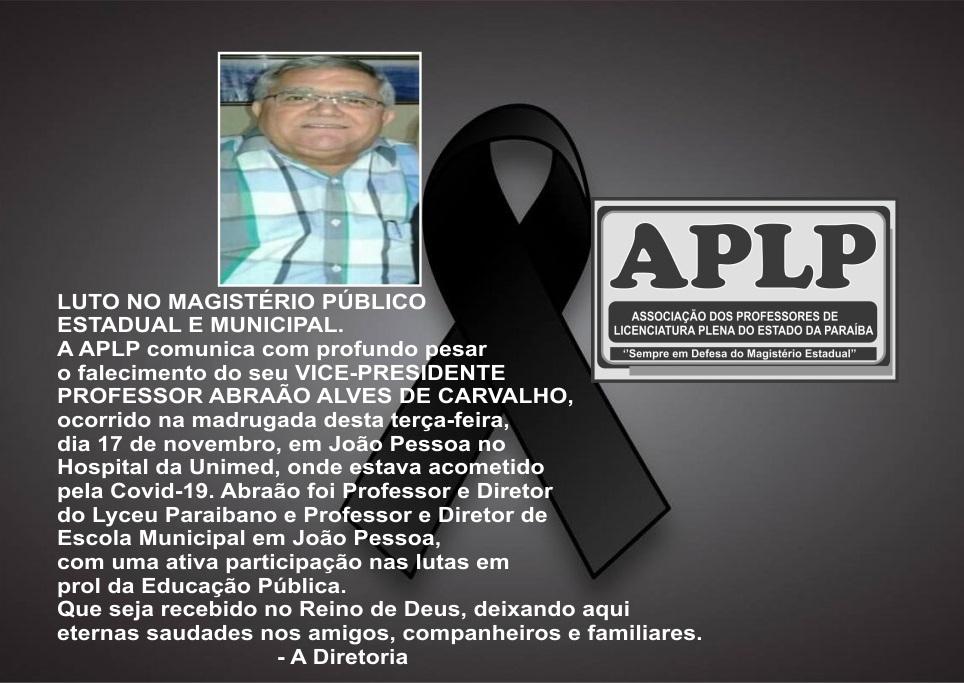luto abraao - LUTO NO MAGISTÉRIO: morre vice-presidente da APLP, Abraão Alves de Carvalho