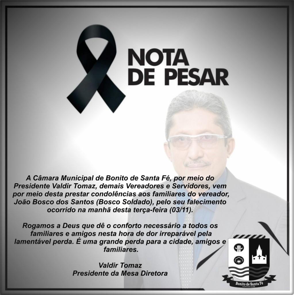 nota de pesar - Vereador candidato à reeleição morre de covid-19 na Paraíba
