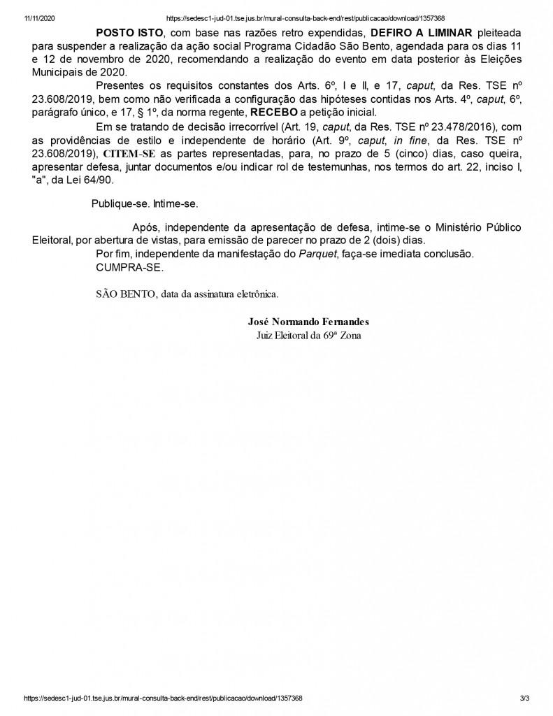 sao bento 3 1 - Candidato à prefeitura de São Bento tem ação social suspensa pela Justiça Eleitoral - ENTENDA