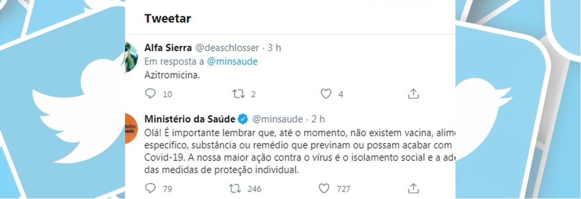 twitter saude - No Twitter, Ministério da Saúde publica que maior ação contra a Covid-19 é o isolamento e depois apaga post