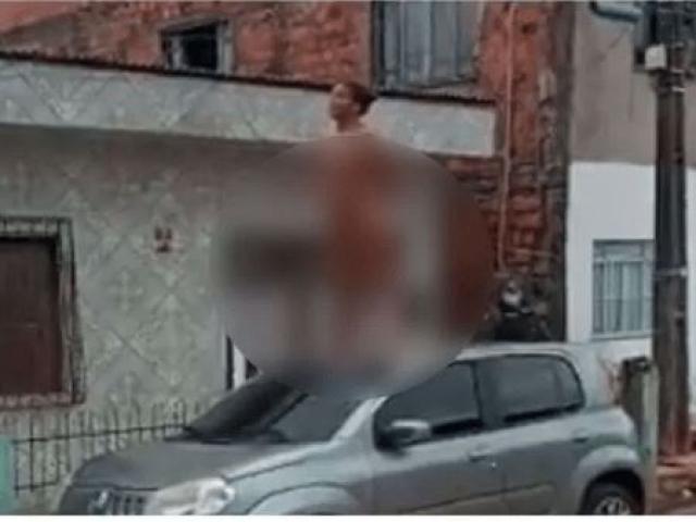 1609417422 - Amante sobe em carro 'como veio ao mundo' e exige 'direito de esposa' - VEJA VÍDEO