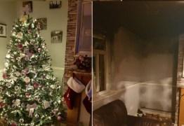 PERIGO: luzes de Natal pegam fogo e deixa família desabrigada