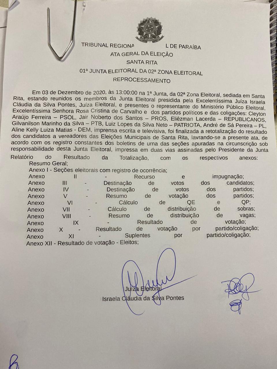ata 1 - Retotalização de votos em Santa Rita não altera composição da Câmara Municipal nem quadro de suplentes