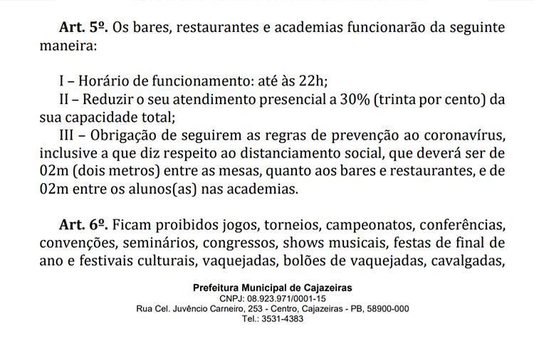 decreto - Decreto da prefeitura de Cajazeiras restringe horário de funcionamento de bares, restaurantes e academias