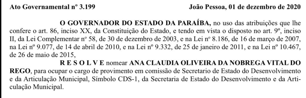 img 2344 1024x331 1 - 'O RETORNO': João Azevedo nomeia Ana Claudia Vital como secretária