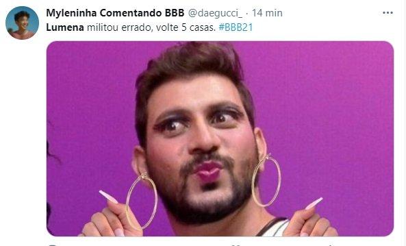 Internautas comentaram - 1ª TRETA NO BBB21?! Lumena se ofende com homens usando maquiagem e brothers se chateiam