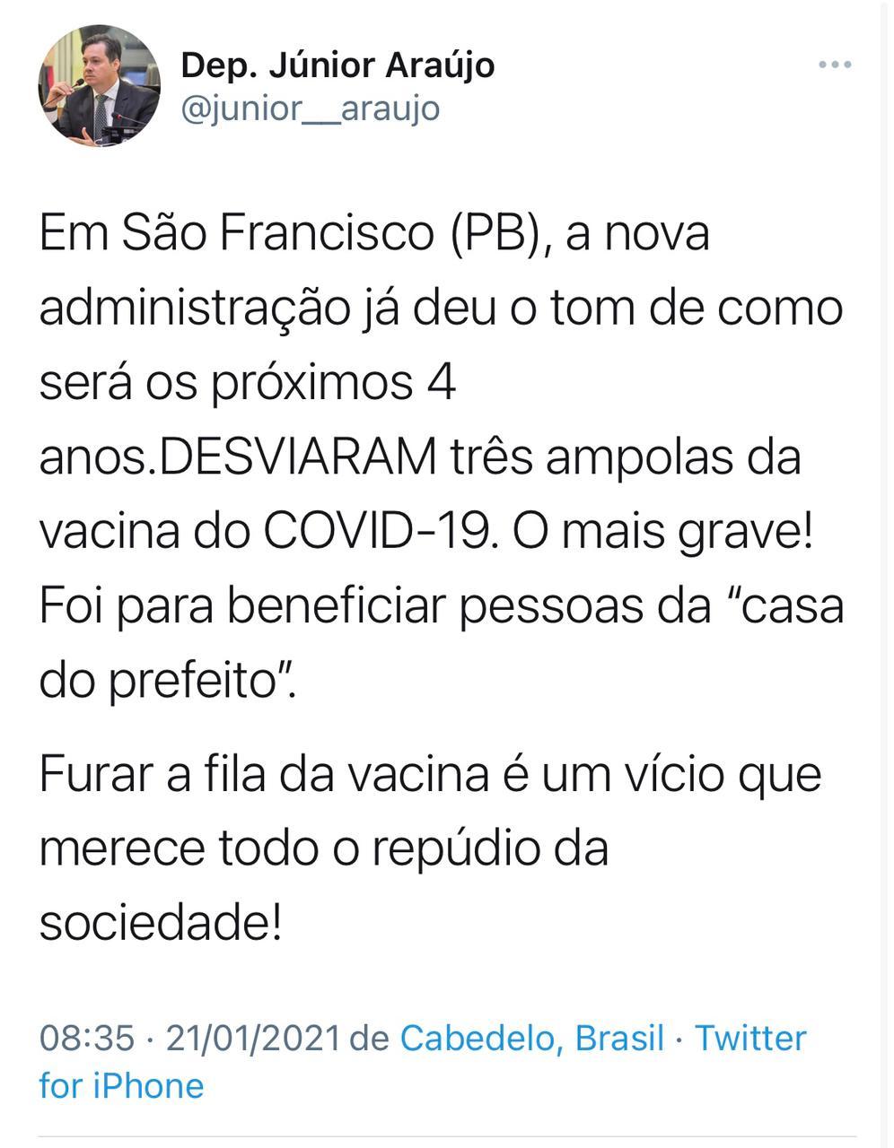 WhatsApp Image 2021 01 21 at 08.44.49 - DENÚNCIA NA PARAÍBA! Deputado diz que doses da Coronavac foram desviadas para a casa do prefeito; confira