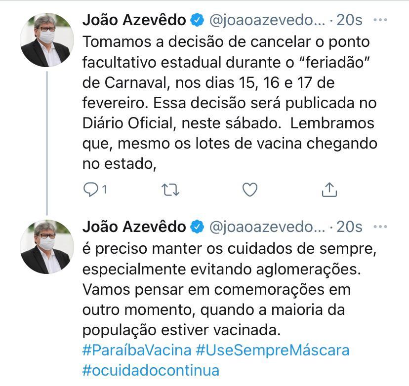 WhatsApp Image 2021 01 29 at 13.17.56 - Governador João Azevêdo confirma o cancelamento de ponto facultativo do Carnaval em 2021; confira