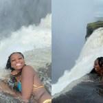 amairis rose estava de ferias na zambia visitou a piscina do diabo que tem um precipicio de aproximadamente 100 metros 1611173423315 v2 900x506 - CORAJOSA! Mulher tira fotos em borda de piscina com precipício de 100 m, e é criticada - VEJA VÍDEO