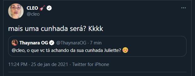 """image CKFlJTT - Fiuk e paraibana, Juliette são 'shippados' na web após estreia do BBB 21; Cleo comenta: """"mais uma cunhada?"""""""