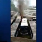 onibus - Incêndio atinge garagem de ônibus e destrói doze veículos - VEJA VÍDEO