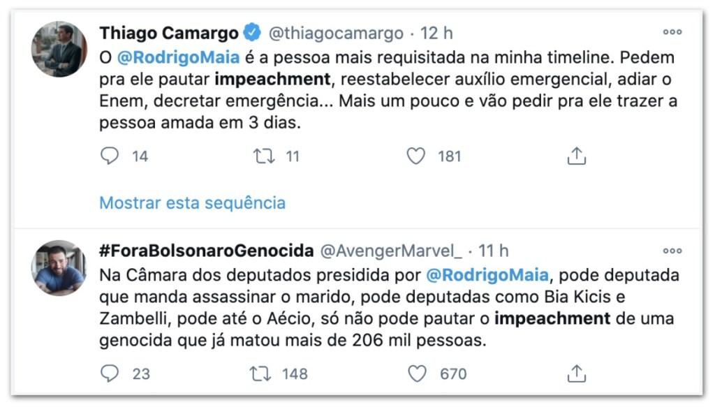 tt2 1024x583 - Nas redes sociais, Maia é pressionado a pautar impeachment de Bolsonaro