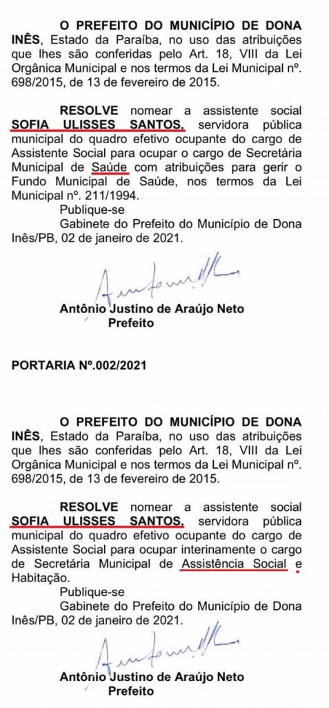 Dona Inês prefeito nomeia esposa duas vezes - NEPOTISMO EM DONA INÊS: prefeito nomeia dez parentes e a esposa para ocupar secretarias do município